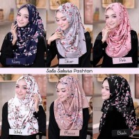 PASTAN SALA SAKURA Hijab Jilbab Kerudung Pashmina Instan Motif Bunga