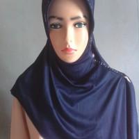 Kerudung jilbab instan rabbani biru navy preloved second bekas mulus