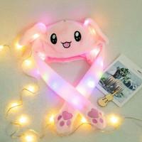 Topi Bunny pink korea tik tok import LED