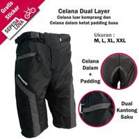 Celana Sepeda Komprang Selutut 2in1 Dual Layer Padding Busa Abu