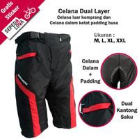 Celana Sepeda Komprang Selutut 2in1 Dual Layer Padding Busa Merah