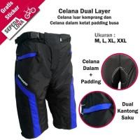 Celana Sepeda Komprang Selutut 2in1 Dual Layer Padding Busa Biru