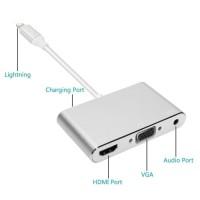 Kabel Adapter Lightning to HDMI + VGA + Audio 3.5 (2 in 1) Converter