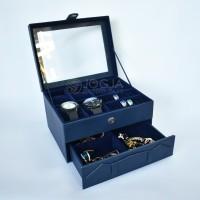 Kotak Tempat Jam Tangan JUMBO mix Tempat Perhiasan Susun Navy