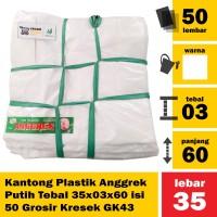 Kantong Plastik Anggrek Putih Tebal 35x03x60 isi 50 Grosir Kresek GK43