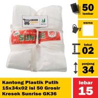 Kantong Plastik Putih 15x34x02 isi 50 Grosir Kresek Sunrise GK36