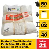 Kantong Plastik Sunrise Putih Tebal 21 x 02 x 40 Kresek isi 50 lb GK21