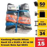 Kantong Plastik Hitam Kecil 15 x 0125 x 34 isi 50 Kresek Bola Api GK01