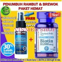 PAKET HEMAT KIRKLAND MINOXIDIL Nozzle Spray Original+BIOTIN 10.000mcg