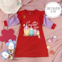 Dress Tunik Kaos Anak Perempuan Rempel Motif Sweet Food 2,4,6,8,10 T