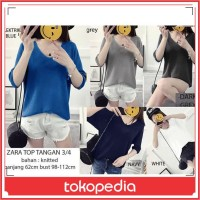 Top Zara Basic Knit / Pakaian Wanita / Baju Atasan Wanita / Kaos