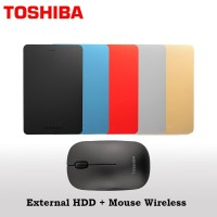 Toshiba Canvio Alumy HDD Eksternal 2TB USB3.0 + Mouse Wireless W55
