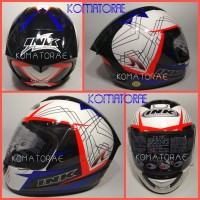 Promo HELM INK CL MAX MOTIF 3 WHITE ROYAL BLUE RED FLUO FULL FACE
