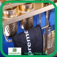 Promo Jual 644 Rak Dinding Dapur Aluminium 2 susun GOLD