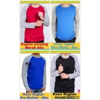 New Kaos Atasan Raglan Biru Muda- Abu Muda