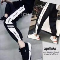 Celana Joger List Hua Sport Training Pant Stripe Korean Style BTS