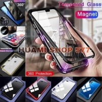 Luxury Magnetic Samsung Galaxy A7 2018 / A9 2018 Tempered Glass Case