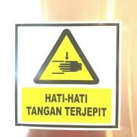 SIGN STIKER K3 SAFETY AWAS TANGAN TERJEPIT 20 X 20CM