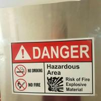 SIGN STIKER K3 SAFETY DANGER NO SMOKING NO FIRE 20 X 30CM