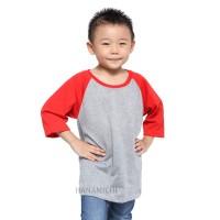 ORI Belle Fashion Kaos Raglan Anak Murah Lengan 3/4 Body Abu (HK)
