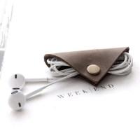Earphone Cable Clip Elegan Bahan Kulit Genuine - Coklat