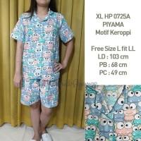 Piyama Keroppi Size L-LL Celana Pendek Wanita Katun Japan 0723AB