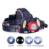 Headlamp Flashlight Headlight LED 4 Modes 1 XML-T6   2 COB
