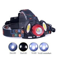 PAKET Headlamp Flashlight Headlight LED 4 Modes 1 XML-T6   2 COB