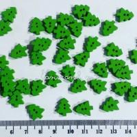 Kancing Kayu Pohon Natal Cemara Mini Hijau