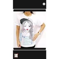 hzb collection - kaos lengan pendek wanita cotton motif cewek topi
