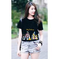 hzb collection - kaos lengan pendek wanita cotton motif stay fashion