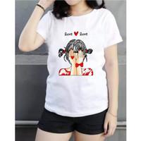 hzb collection - kaos lengan pendek wanita cotton motif love girl