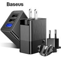 Baseus 3 Port USB Charger Adapter 3-in-1 Replacable Plug Portable 3.4A