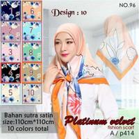 Jilbab Segi Empat Satin Velvet Branded Motif - seri : PLATINUM 10