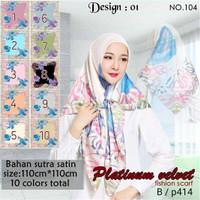 Jilbab Segi Empat Satin Velvet Branded Motif - seri : PLATINUM 01