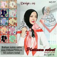 Jilbab Segi Empat Satin Velvet Branded Motif - seri : PLATINUM 09
