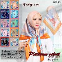Jilbab Segi Empat Satin Velvet Branded Motif - seri : PLATINUM 03