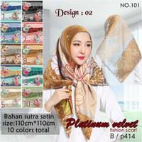 Jilbab Segi Empat Satin Velvet Branded Motif - seri : PLATINUM 02