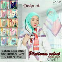 Jilbab Segi Empat Satin Velvet Branded Motif - seri : PLATINUM 08