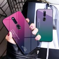 OPPO F11 Pro Realme 3 Reno Phone Case Soft Edge Gradient Tempred Glass