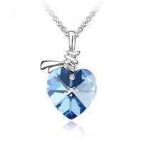 kalung hati kristal crystal heart pendant necklace jka164
