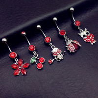 5pcs Anting Pusar Tindik Perut Navel Piercing Belly Ring Red
