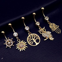 5pcs Anting Pusar Tindik Perut Navel Piercing Belly Ring Gold