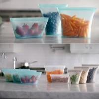 Reuseable pouch silicone ziplock food tempat makan seal bag keep fresh