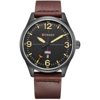 Original CURREN 8265 Men Sport Watch Military Leather Week Day
