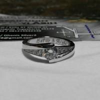 cincin kawin nikah tunangan single perak lapis rhodium(emas putih)