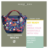 SLINGBAG : MICHI LEATHER CARVING AND PAINTING NAVY ONE SIDE (PREORDER)