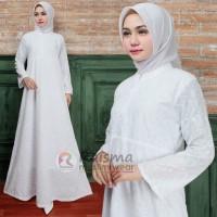 Gamis Putih Ukuran 4L / Gamis Bermotif / Gamis Size Jumbo