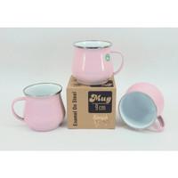 Mug Enamel ROSE GOLD / Gelas Besi Classic Polos 9 cm Mewah Pink Emas
