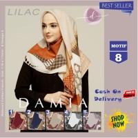 Jilbab Segi Empat Lilac Cotton French Motif 8 New By Damia Scarf - Ori